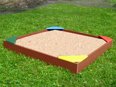 4ft Poly Sandbox w/Colored Seats
