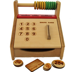 Wooden Cash Register Toy & Wooden Money