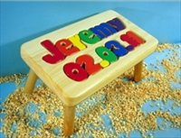 Personalized Name and Birthday Stool With 1-8 Letters
