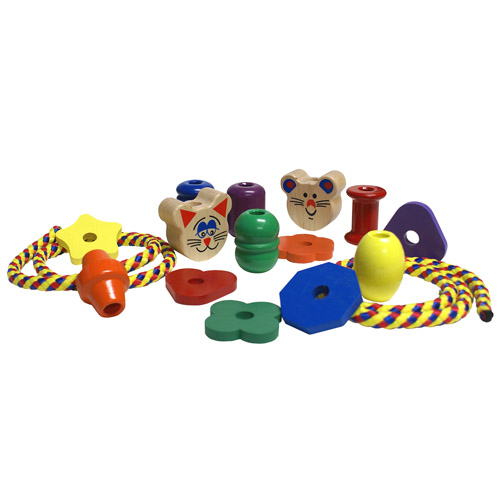 Jumbo Lacing Wood Beads and Wood Shapes - Made in the USA