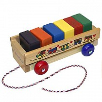 My 1st Wood Block Wagon- Wooden Toy Made in the USA