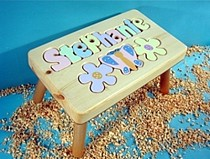 Personalized Name Puzzle Stool With Flowers With 9-12 Letters