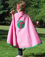 Kids Personalized Super Hero Cape & Mask Pink