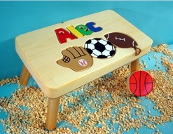 Personalized Name Puzzle Sport Stool With 1-8 Letters