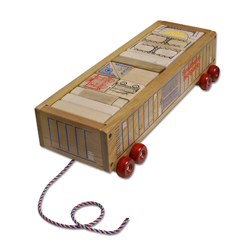 Railroad Wood Block Wagon- Wooden Toy Made in the USA