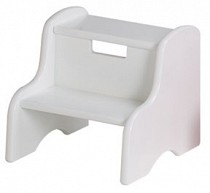 Solid Color Kid's Step Stool - Solid White