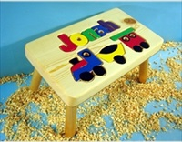 Personalized Name Puzzle Train Stool With 1-8 Letters