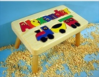 Personalized Name Puzzle Train Stool With 9-12 Letters