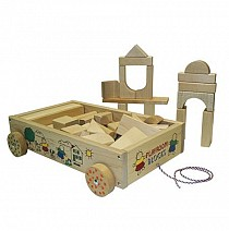 Wagon of Blocks- Wooden Toy Made in the USA