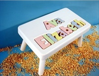 White Two Name Large Stool With 9-12 Letters