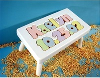 White Personalized Name And Birthday Stool With 1-8 Letters