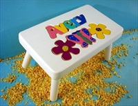White Personalized Name With Flower Stool With 1-8 Letters