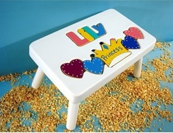 White Personalized Princess Name Stool With 1-8 Letters