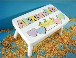 White Personalized Princess Name Stool With 9-12 Letters