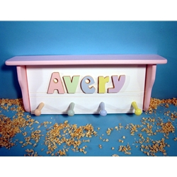 White Shelf Coat Rack With 1-12 Letters  Comes with 5 pegs