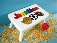 White Personalized Name With Sport Stool With 9-12 Letters