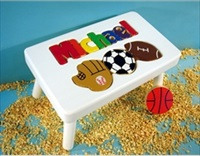 White Personalized Name With Sport Stool With 1-8 Letters