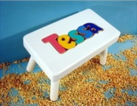 White Personalized Name Stool With 1-5 Letters