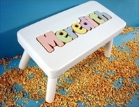 White Personalized Name Stool With 6-8 Letters