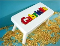 White Personalized Name Stool With 9-12 Letters