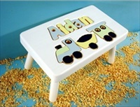 White Personalized Name With Train Stool With 1-8 Letters