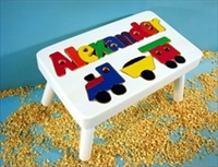 White Personalized Name With Train Stool With 9-12 Letters