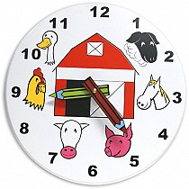 Wood Children's Farm Clock - Wooden Toy Made in the USA