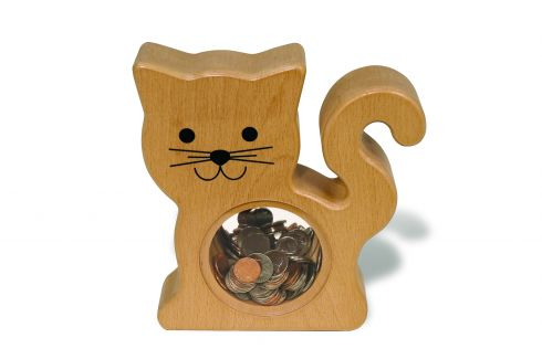 Wooden Cat Bank