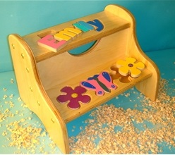 Personalized Two Step Stool with Flowers
